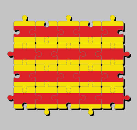 Jigsaw puzzle of Catalonia flag in The red stripe on golden background. Concept of Fulfillment or perfection.