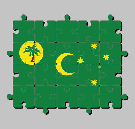 Jigsaw puzzle of Cocos (Keeling) Islands flag in a palm tree on a gold disc, crescent and southern cross on green. Concept of Fulfillment or perfection.