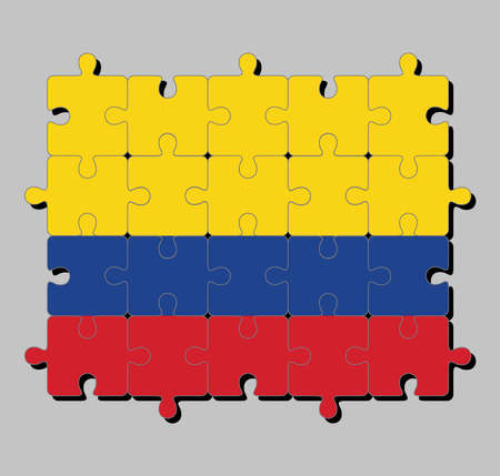 Jigsaw puzzle of Colombia flag in a horizontal tricolor of yellow (double-width), blue and red. Concept of Fulfillment or perfection.