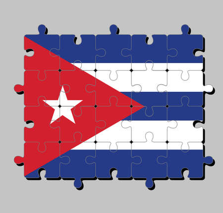 Jigsaw puzzle of Cuba flag in blue and white with the red equilateral triangle and star. Concept of Fulfillment or perfection.  イラスト・ベクター素材