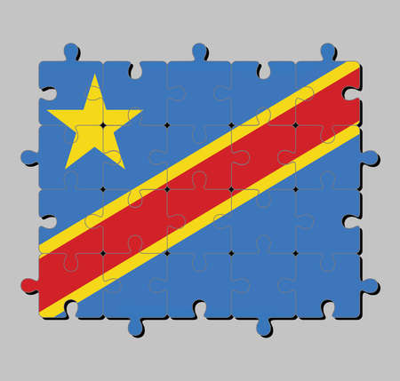 Jigsaw puzzle of Dr Congo flag in Sky blue field with diagonally red and yellow stripe and star. Concept of Fulfillment or perfection.
