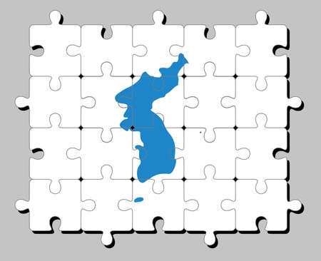 Jigsaw puzzle of Unification Korea flag, Korean Peninsula in blue on white.Concept of Fulfillment or perfection. 일러스트