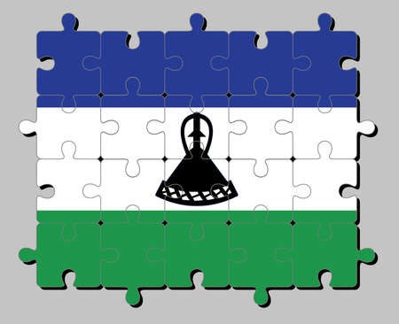 Jigsaw puzzle of Lesotho flag in blue white and green with a black mokorotlo (a Basotho hat). Concept of Fulfillment or perfection.