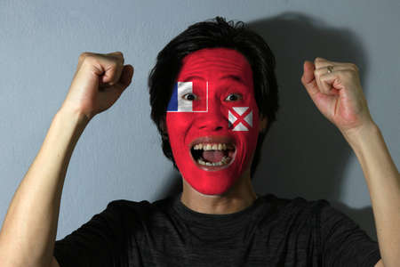 Cheerful portrait of a man with the Unofficial flag of the Territory of the Wallis and Futuna Islands painted on his face on grey background. The concept of sport or nationalism.
