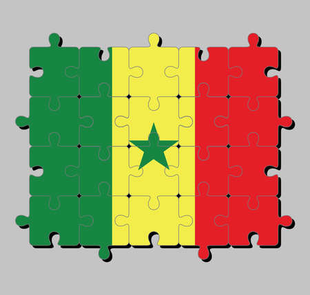 Jigsaw puzzle of Senegal flag in green yellow and red; charged with a green star. Concept of Fulfillment or perfection.