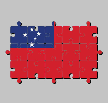 Jigsaw puzzle of Samoa flag in a red field with the blue rectangle and white star. Concept of Fulfillment or perfection. Vectores