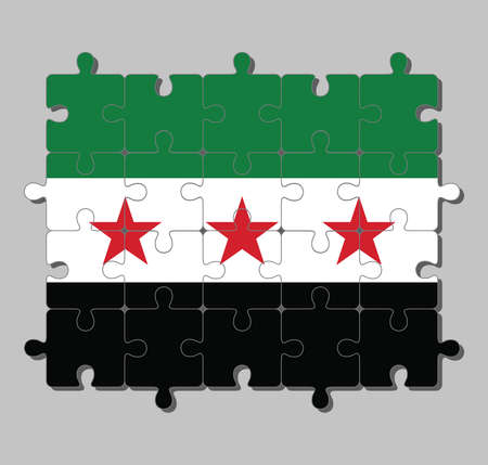 Jigsaw puzzle of Syrian Interim Government flag in a horizontal tricolor of green white and black with three red stars in the center. Concept of Fulfillment or perfection. Vectores