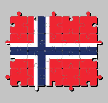 Jigsaw puzzle of Norway flag in a white-fimbriated blue Nordic cross on a red field. Concept of Fulfillment or perfection.