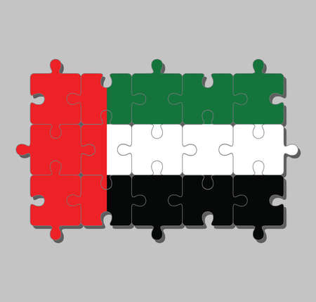 Jigsaw puzzle of United Arab Emirates flag in green white and black with a vertical one fourth width red bar at the hoist. Concept of Fulfillment or perfection. Çizim