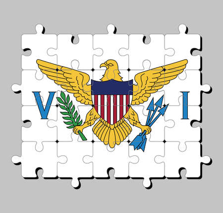 Jigsaw puzzle of Virgin Islands flag in the coat of arms of the United States between the letters V and I. Concept of Fulfillment or perfection.