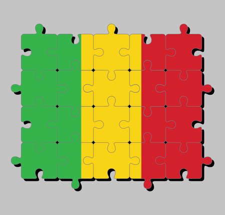 Jigsaw puzzle of Mali flag in a vertical tricolor of green gold and red. Concept of Fulfillment or perfection.