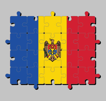 Jigsaw puzzle of Moldova flag in vertical tricolor of blue yellow and red with the Coat of Arms on center. Concept of Fulfillment or perfection.