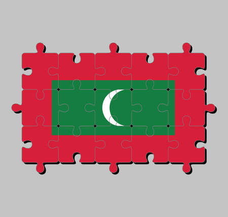 Jigsaw puzzle of Maldives flag in green with red border and white crescent on center. Concept of Fulfillment or perfection. Stock Illustratie