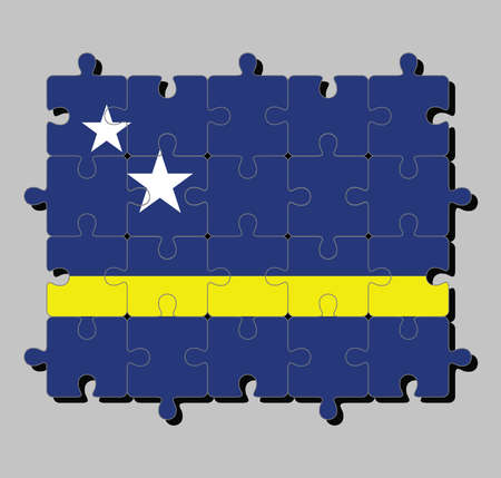 Jigsaw puzzle of Curacao flag in blue field with a horizontal yellow stripe slightly below the midline and two white stars. Concept of Fulfillment or perfection.