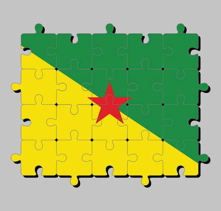 Jigsaw puzzle of French Guiana flag in the green and yellow with red star. Concept of Fulfillment or perfection.
