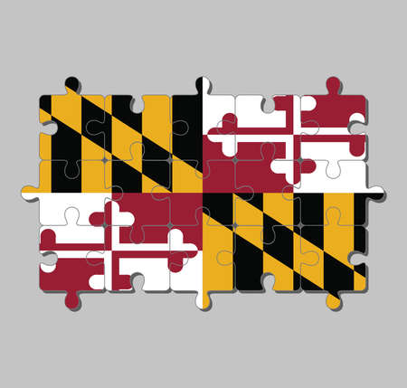 Jigsaw puzzle of Maryland flag in Heraldic banner of George Calvert, 1st Baron Baltimore. The states of America, Concept of Fulfillment or perfection.
