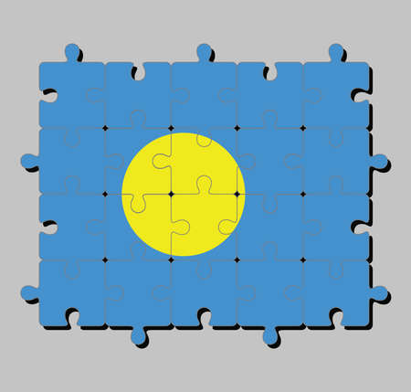 Jigsaw puzzle of Palau flag in light blue field with the large yellow disk shifted slightly to the hoist-side of center. Concept of Fulfillment or perfection.