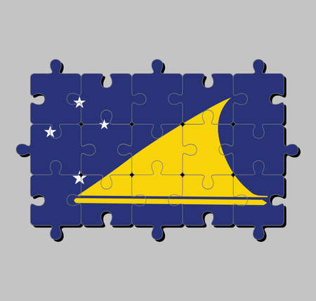 Jigsaw puzzle of Tokelau flag in light blue field with the large yellow disk shifted slightly to the hoist-side of center. Concept of Fulfillment or perfection. 向量圖像