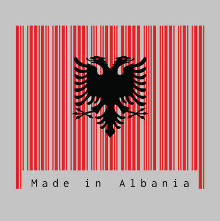 Barcode set the color of Albania flag, a red with the black double-headed eagle on white background with text: Made in Albania. concept of sale or business.