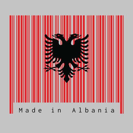 Le code à barres définit la couleur du drapeau de l'Albanie, un rouge avec l'aigle à deux têtes noir sur fond blanc avec texte: Fabriqué en Albanie. concept de vente ou d'entreprise.