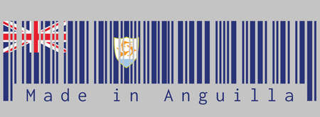 Barcode set the color of Anguilla flag, Blue Ensign with the British flag and the coat of arms of Anguilla in the fly, text: Made in Anguilla. concept of sale or business. Illustration