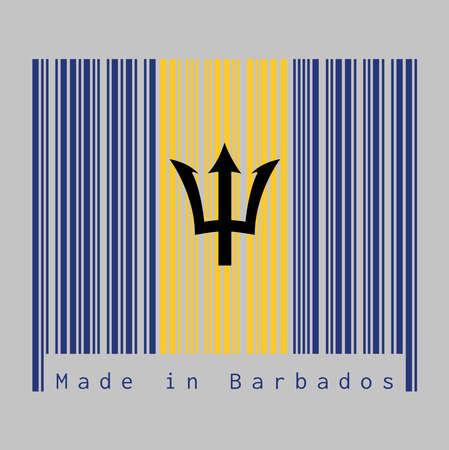 Code à barres définit la couleur du drapeau de la Barbade, couleur outremer verticale et or avec tête de trident noir sur fond gris, texte: Fabriqué à la Barbade. concept de vente ou d'entreprise.