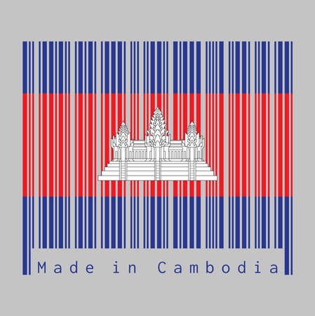 Barcode set the color of Cambodia flag, blue red and white color with black line of Angkor wat, text: Made in Cambodia. concept of sale or business. 向量圖像