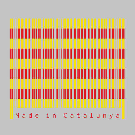 Barcode set the color of Catalonia flag, The red stripe on golden background on grey background, text: Made in Catalunya. concept of sale or business. Çizim