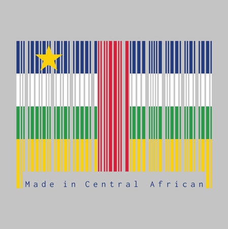 Barcode set the color of Central African flag, blue white green yellow and red color with star on grey background, text: Made in Central African. concept of sale or business. Illustration