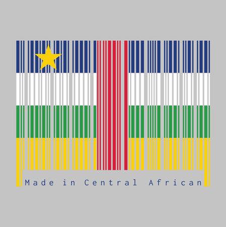 Code à barres définir la couleur du drapeau centrafricain, bleu blanc vert jaune et rouge avec étoile sur fond gris, texte: Fabriqué en Afrique centrale. concept de vente ou d'entreprise.