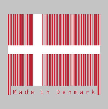 Barcode set the color of Denmark flag, red with a white Scandinavian cross that extends to the edges of the flag. text: Made in Denmark. concept of sale or business.