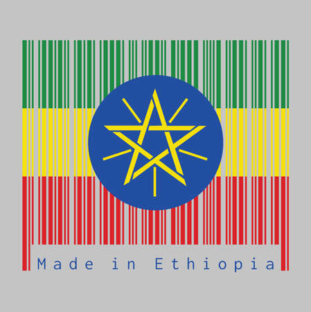 Barcode set the color of Ethiopia flag, tricolor of green, yellow and red with the National Emblem. text: Made in Ethiopia. concept of sale or business.  イラスト・ベクター素材