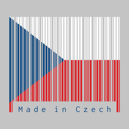 Barcode set the color of Czech flag, two equal horizontal of white and red with a blue  triangle on the hoist side. text: Made in Czech. concept of sale or business. Ilustração