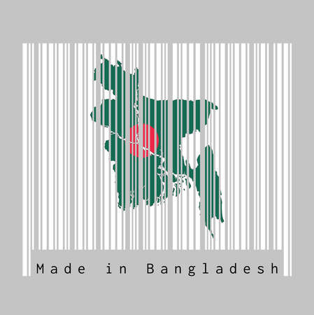 Barcode set the shape to Bangladesh map outline and the color of Bangladesh flag on white barcode with grey background, text: Made in Bangladesh. concept of sale or business. 일러스트