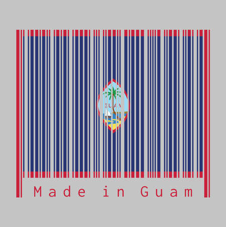 Barcode set the color of Guam flag, dark blue background with a thin red border and the Seal of Guam, text: Made in Guam. concept of sale or business.
