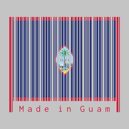 Le code-barres définit la couleur du drapeau de Guam, un fond bleu foncé avec une fine bordure rouge et le sceau de Guam, texte: Made in Guam. concept de vente ou d'entreprise. Vecteurs