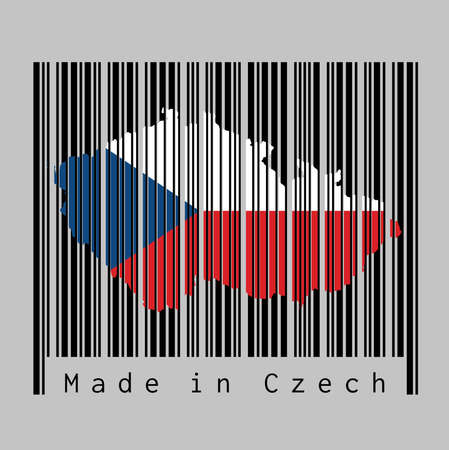Barcode set the shape to Czech map outline and the color of Czech flag on black barcode with grey background, text: Made in Czech. concept of sale or business.