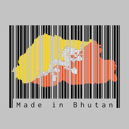 Barcode set the shape to Bhutan map outline and the color of Bhutan flag on black barcode with grey background, text: Made in Bhutan. concept of sale or business. Illustration