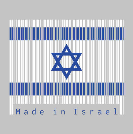 Barcode set the color of Israel flag, blue hexagram on a white background, between two blue stripes. text: Made in Israel. concept of sale or business. Ilustração