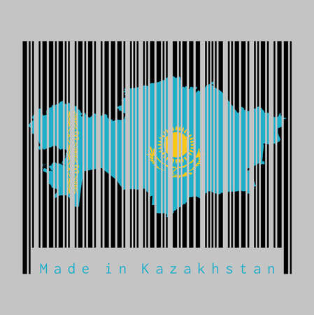 Barcode set the shape to Kazakhstan map outline and the color of Kazakhstan flag on black barcode with grey background, text: Made in Kazakhstan. concept of sale or business. 일러스트
