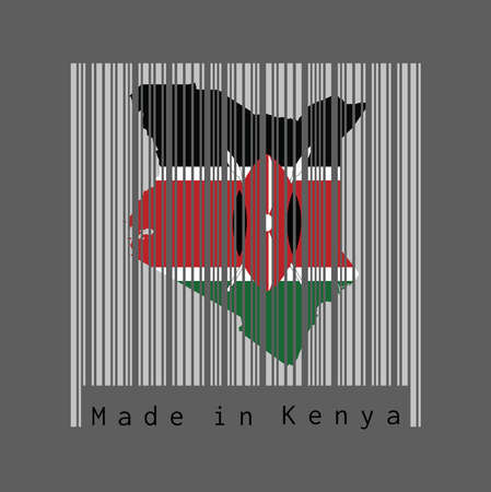 Barcode set the shape to Kenya map outline and the color of Kenya flag on light grey barcode with grey background, text: Made in Kenya. concept of sale or business. Vectores