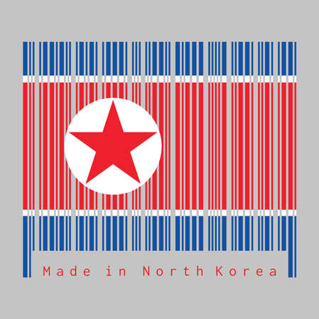 Barcode set the color of North Korea flag, horizontal red white and blue, red star within a white circle. text: Made in North Korea. concept of sale or business.