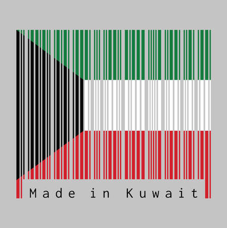 Barcode set the color of Kuwait flag, green white and red color with black trapezium based on the hoist side. text: Made in Kuwait. concept of sale or business.