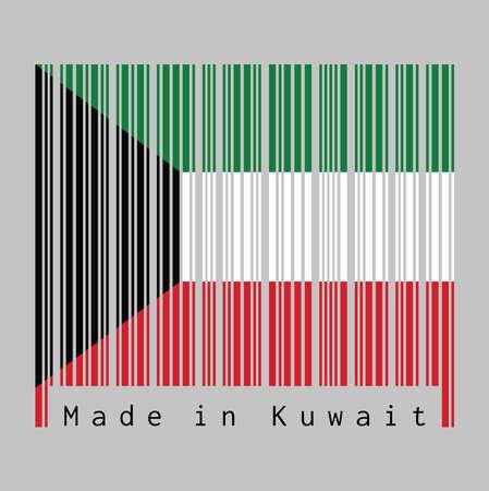 Le code à barres définit la couleur du drapeau du Koweït, la couleur vert blanc et rouge avec un trapèze noir basé sur le côté du mât. texte: Fabriqué au Koweït. concept de vente ou d'entreprise.