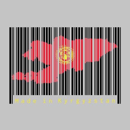 Le code-barres définit la forme sur le contour de la carte du Kirghizistan et la couleur du drapeau du Kirghizistan sur un code-barres noir sur fond gris, texte: fabriqué au Kirghizistan. concept de vente ou d'entreprise. Vecteurs