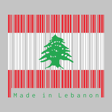 Barcode set the color of Lebanon flag, triband of red and white, charged with a green Lebanon Cedar. text: Made in Lebanon. concept of sale or business. Illustration