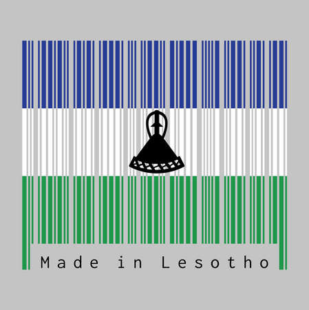 Barcode set the color of Lesotho flag, blue, white and green with a black mokorotlo (a Basotho hat). text: Made in Lesotho. concept of sale or business. Illustration