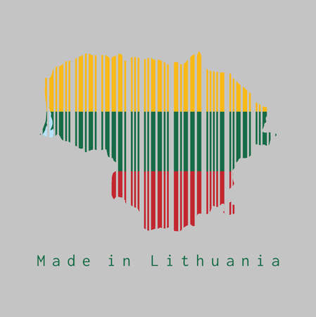 Barcode set the shape to Lithuania map outline and the color of Lithuania flag on grey background, text: Made in Lithuania. concept of sale or business.