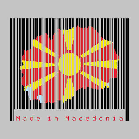 Barcode set the shape to Macedonia map outline and the color of Macedonia flag on black barcode with grey background, text: Made in Macedonia. concept of sale or business. Ilustrace