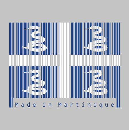 Le code-barres définit la couleur du drapeau de la Martinique, quatre serpents blancs sur fond bleu et une croix blanche au centre. texte: Fabriqué en Martinique. concept de vente ou d'entreprise.